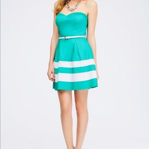 bebe turquoise with white stripe Sweetheart dress